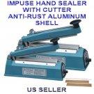 "12"" PFS300-C Hand Impulse Sealer With Cutter Heat Seal Plastic Poly Bag Closer"