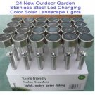 24 Outdoor Garden Stainless Steel Led Changing Color Solar Landscape Lights