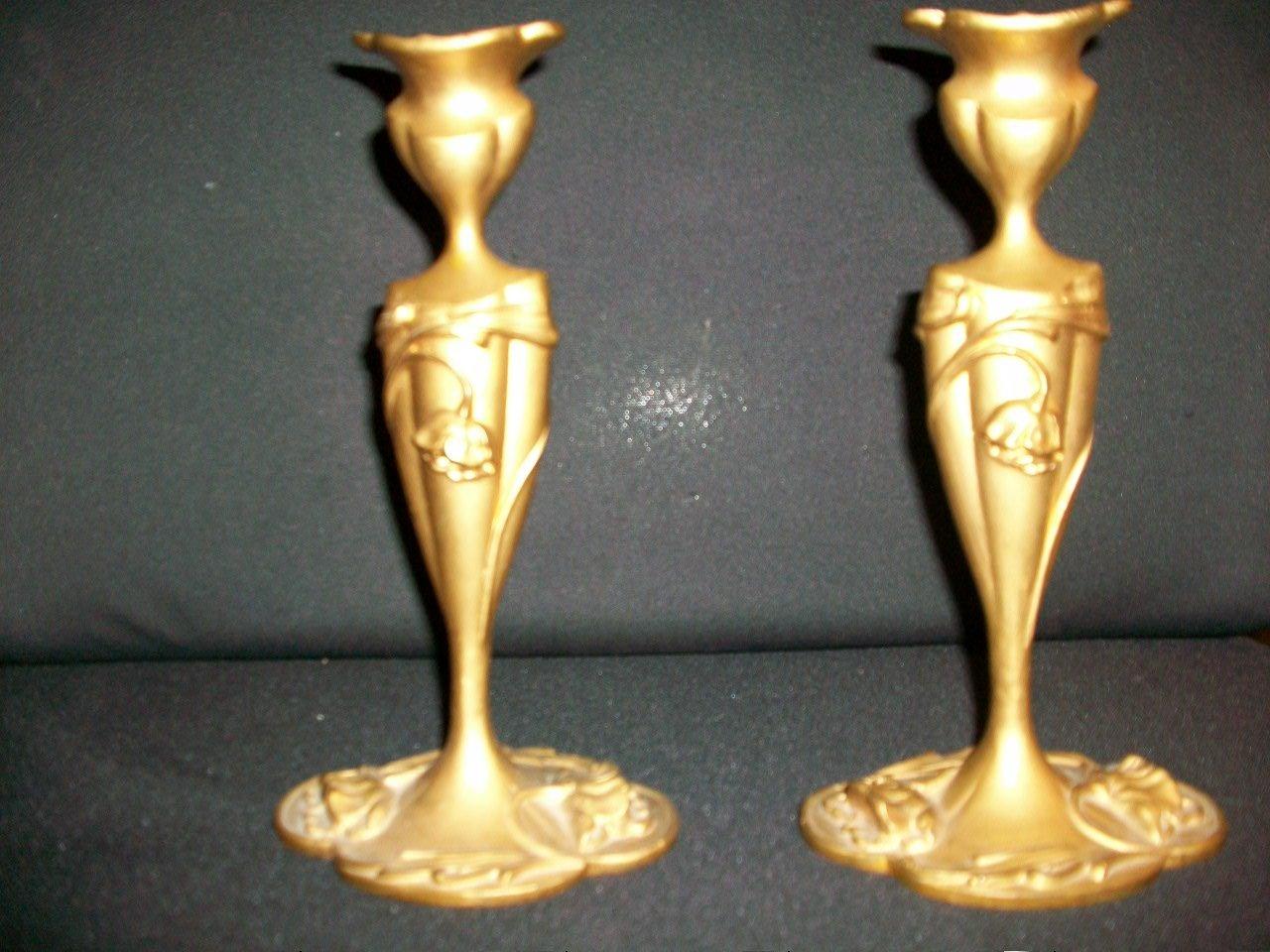 Antique A-M-W Candlesticks