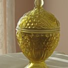 Avon Footed Yellow Embossed Glass Candle Holder with Lid 1960s Vintage
