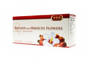 rosehip hibiscus flowers 3 crown tea bags ON SALE