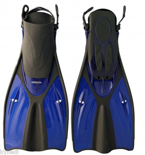2011 TILOS GETAWAY TRAVEL SNORKELING & SWIM FINS; BLUE