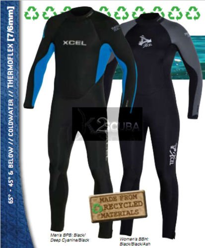 NEW XCEL WOMENS THERMOBAMBOO 7/6/5MM WETSUIT BLACK; 10