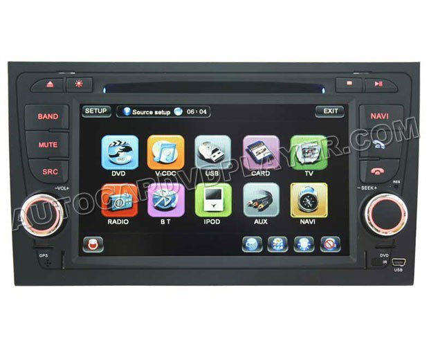 "Audi A4 DVD GPS Navigation player with 7"" Digital Touchscreen / PIP RDS Bluetooth"