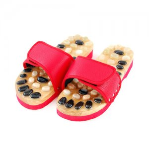 Deluxe Wooden Massage Sandals with Acupressure Stones for Men's Foot Care