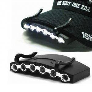 Lightweight 6 LED Cap Light / Hat Clip Light for Fishing, Camping