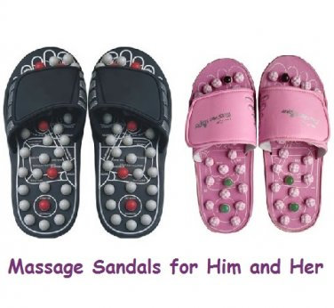 Foot Massage Reflexology Sandals for Him and Her (Two Pair)
