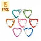 Sunroad® Metal Carabiner Snap Hook Keychain - Heart Shape (15 Piece Bulk Pack)