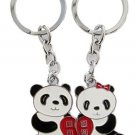 Romantic Couple Cute Panda Keychain | Metal Keyring Gift Set for Couples in Love