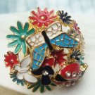 Sizse 6.2 Retro Brass Crystal Flower Beetle Butterfly design Ring
