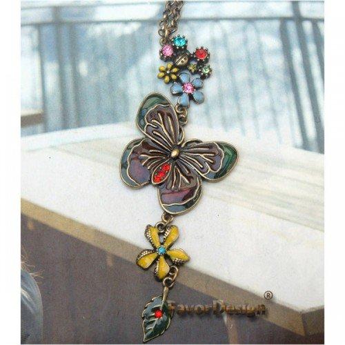 Lovely Swarovski Crystal Retro Copper Butterfly Flower Necklace
