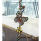 Lovely Swarovski Crystal Retro Copper Butterfly Flower Necklace