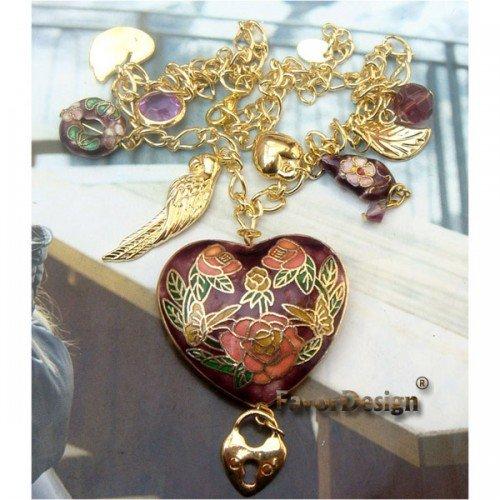 Charm Retro Copper Cloisonne Necklace Pendant Vintage Style