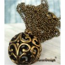Lovely Retro Copper Ball Necklace Pendant Vintage Style