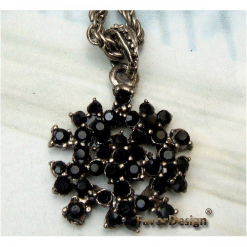 Lovely Swarovski Crystal Silver Plated Flower Necklace Pendant Vintage
