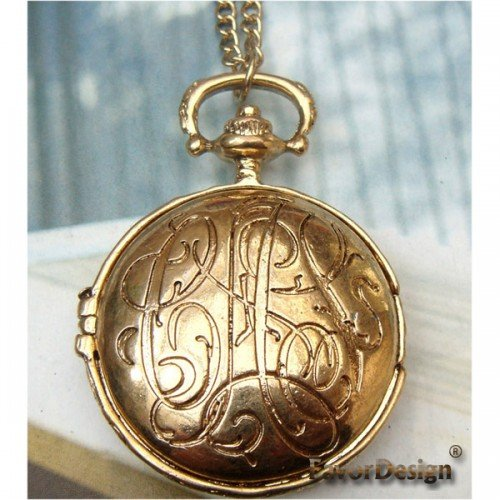 Lovely Retro Copper Pocket Watch Locket Necklace Pendant Vintage Style