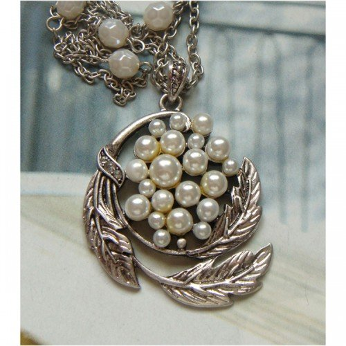Elegant Silver Plated Peacock design Pendant Necklace