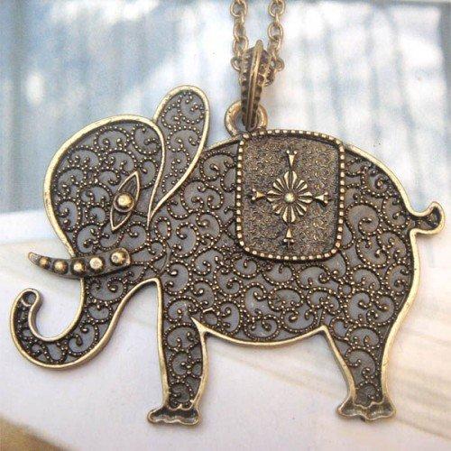 Elegant Brass Elephant design Pendant Necklace