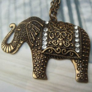 Elegant Brass Elephant Crystal design Pendant Necklace