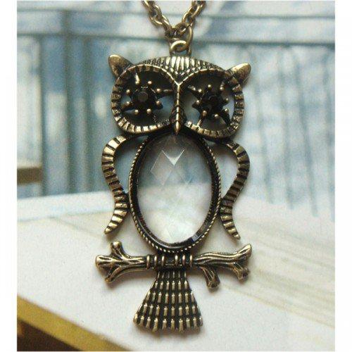 Elegant Brass Owl Crystal design Pendant Necklace