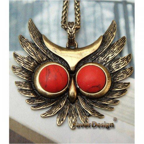 Elegant Brass Owl Head design Pendant Necklace