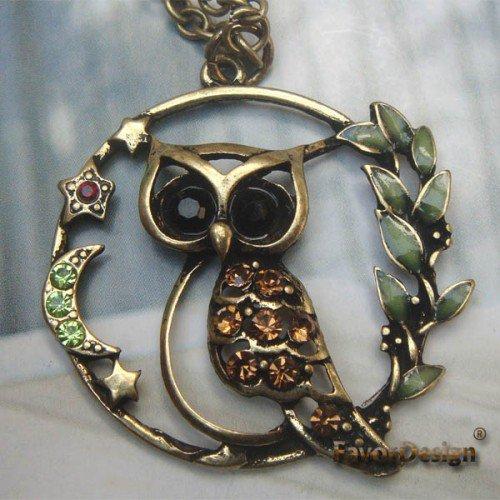 Handmade Brass Crystal Owl design Pendant necklace