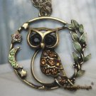 Handmade Brass Crystal Owl design Pendant necklace