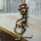 Elegant Brass Crystal Cat design Pendant necklace