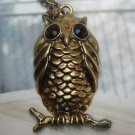 Elegant Brass Crystal Owl design Pendant Necklace