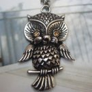 Elegant Silver Plated Crystal Owl design Pendant Necklace