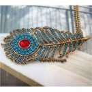 Elegant Retro Brass Crystal Peacock Leather design Pendant Necklace