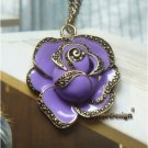 Elegant Retro Brass Flower design Pendant Necklacex