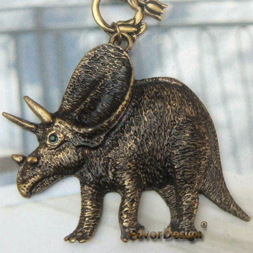 Elegant Retro Brass Crystal Dinosaur design Pendant Necklace