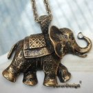 Elegant Retro Brass Crystal Elephant design Pendant Necklace