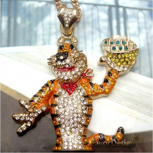 Huge 4inch Retro Brass Crystal Tiger Pendant Necklace