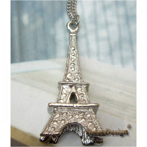 Elegant Silver Plated Eiffel Tower design Pendant Necklace