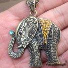 Lovely Retro Brass Crystal Elephant design Pendant Necklace