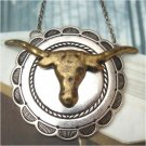 Silver Plated Retro Brass Ox Head design Pendant Necklace