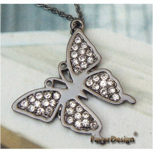 Lovely Swarovski Crystal Butterfly Necklace Pendant Vintage Style