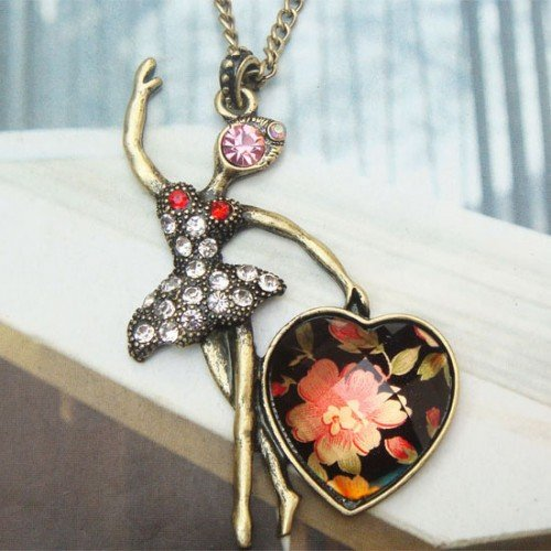 Lovely Retro Brass Crystal Dancing Girl design Pendant Necklace