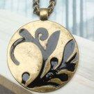 Elegant Retro Brass Orchid art design Pendant Necklace