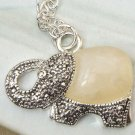 Silver Plated Retro Brass Elephant art design Pendant Necklace