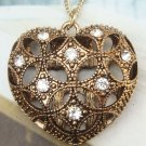 Retro Brass Crystal Heart art design Pendant Necklace Vintage Style
