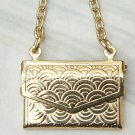 Retro Brass Handbag art design Pendant Necklace Vintage Style