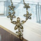 Retro Brass Crystal Flower art design Pendant Necklace Vintage Style