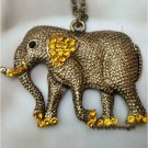 Retro Brass Swarovski Crystal Elephant Pendant Necklace Vintage Style