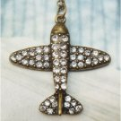 Swarovski Crystal Retro Copper Plane Necklace Pendant Vintage Style