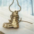 Swarovski Crystal Retro Copper Boot Necklace Pendant Vintage Style