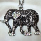 Silver Plated Crystal Elephant Necklace Pendant Vintage Style