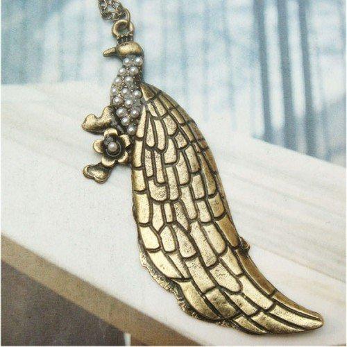 Retro Copper Peacock Necklace Pendant Vintage Style